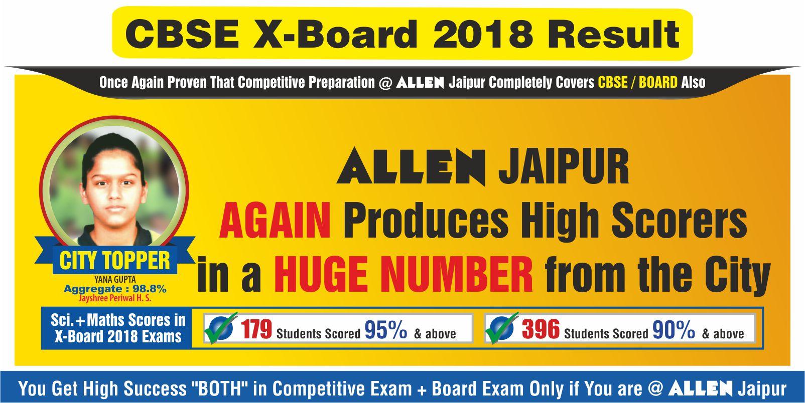 ALLEN Jaipur CBSE-X Result 2018