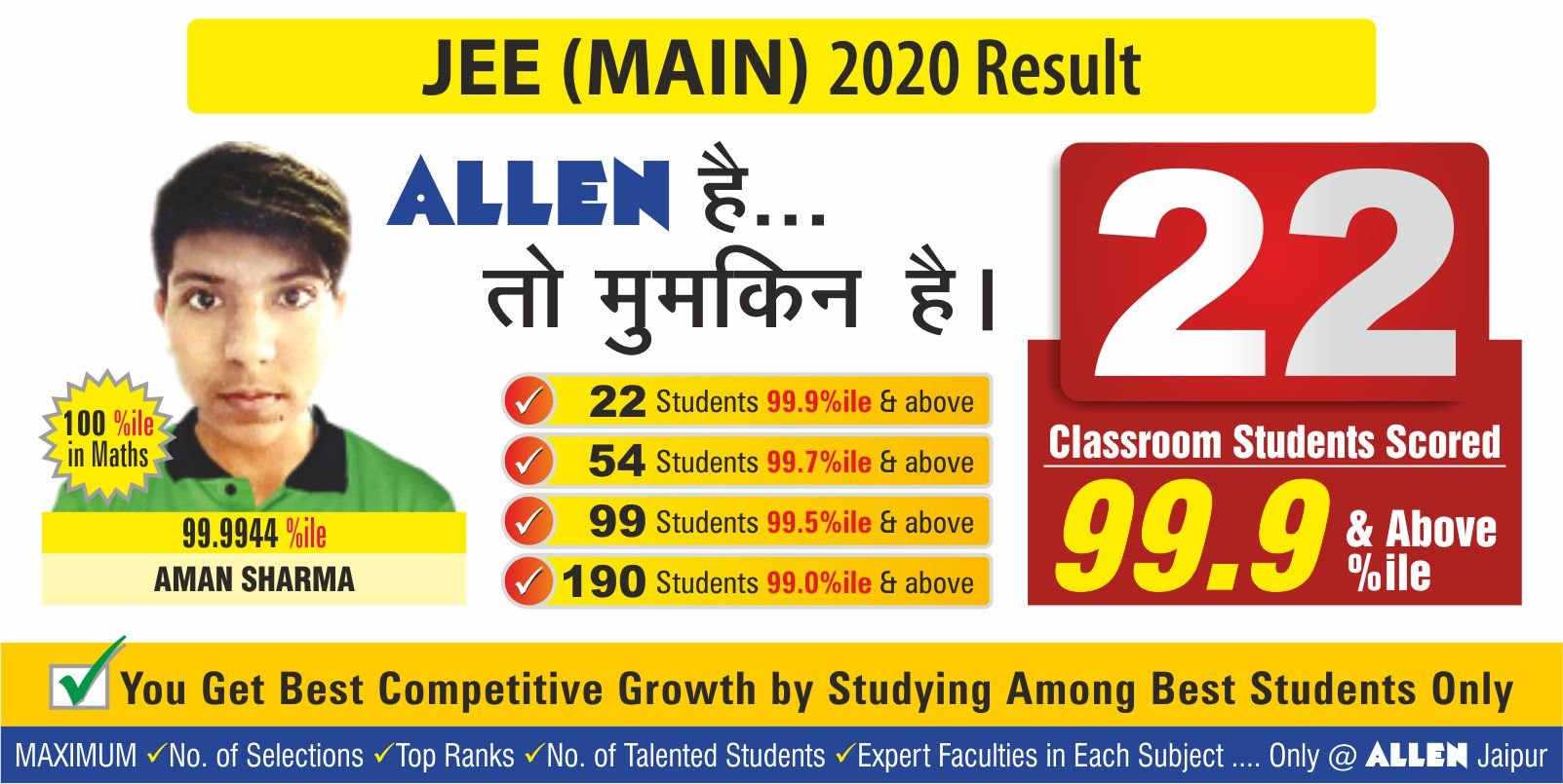 JEE MAINS 2020 RESULT