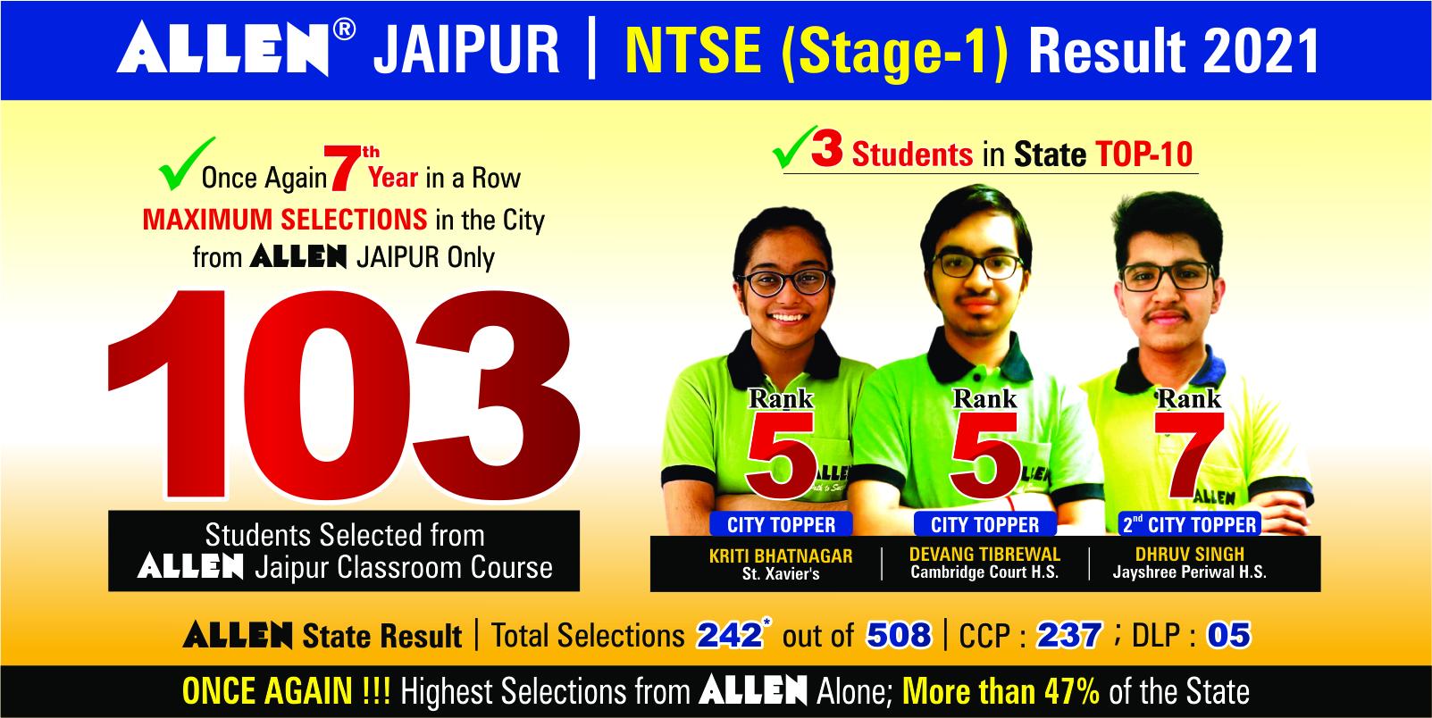 NTSE STAGE-1 Result 2021_20June